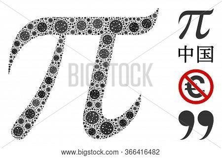 Mosaic Pi Symbol Composed Of Flu Virus Icons In Random Sizes And Color Hues. Vector Pathogen Icons A