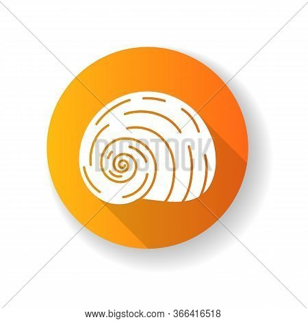 Spiral Shell Yellow Flat Design Long Shadow Glyph Icon. Gastropod Seashell, Conchology Empty Mollusc