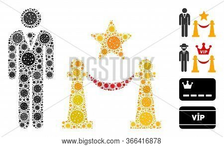 Mosaic Prestige Entarnce United From Coronavirus Icons In Variable Sizes And Color Hues. Vector Infe