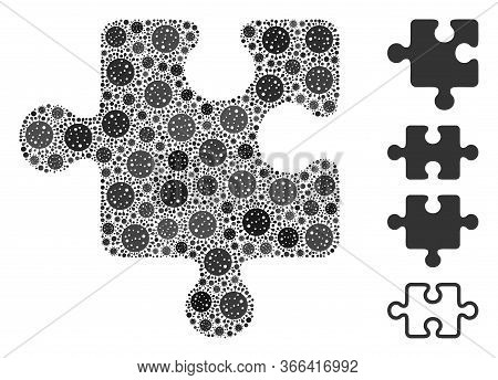 Collage Puzzle Detail United From Sars Virus Icons In Variable Sizes And Color Hues. Vector Infectio