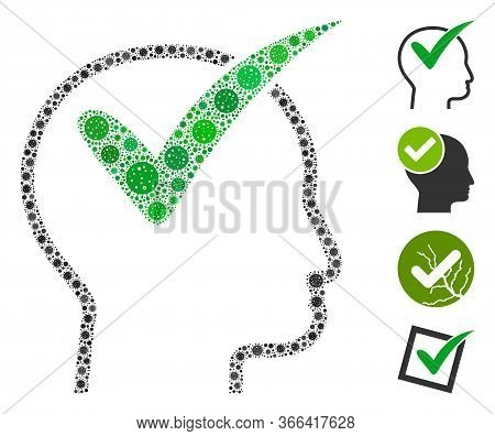 Collage Recommended Organized From Sars Virus Icons In Variable Sizes And Color Hues. Vector Viral E