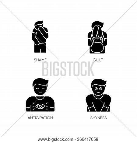 Human Behaviour Black Glyph Icons Set On White Space. Feeling Of Shame. Man With Self Blame. Social