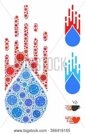 Collage Rush Drop Organized From Covid-2019 Virus Icons In Variable Sizes And Color Hues. Vector Pat