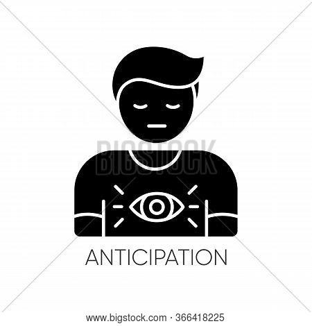 Anticipation Black Glyph Icon. Man Expecting Future. Person With Intuitive Prediction. Mental State.