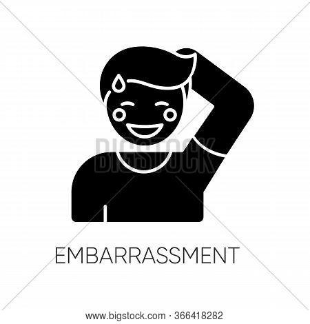 Embarrassment Black Glyph Icon. Man Acting Shy. Feeling Of Humiliation. Self Conscious Behaviour. Ne