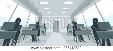 Office Interior In Distorted Perspective Vector Illustration, Modern Workplace Inner Space.