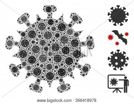 Mosaic Sars Virus Composed Of Sars Virus Icons In Different Sizes And Color Hues. Vector Infection I