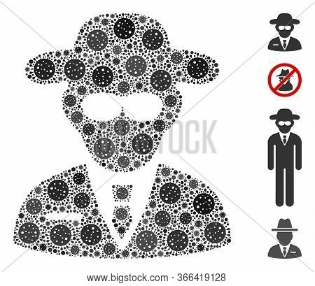 Mosaic Secure Agent Organized From Covid-2019 Virus Icons In Various Sizes And Color Hues. Vector Vi