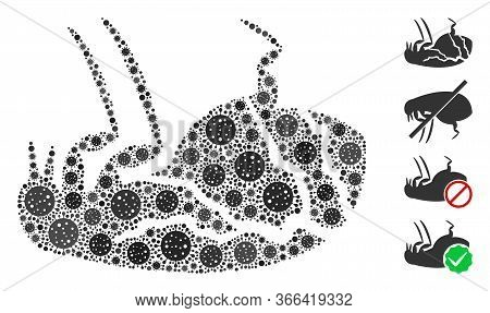 Mosaic Sick Flea Designed From Coronavirus Icons In Different Sizes And Color Hues. Vector Infection