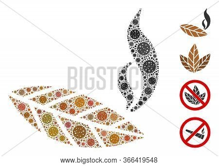 Collage Smoking Tobacco Leaf Composed Of Flu Virus Icons In Random Sizes And Color Hues. Vector Path