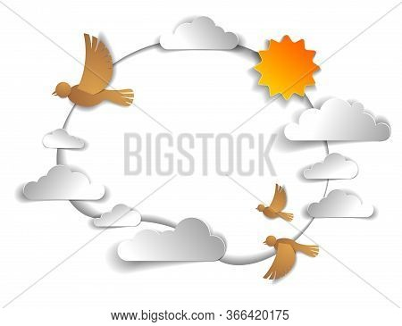 Birds Flock Flying Among Beautiful Clouds And Sun In The Sky, Background Or Frame With Copy Space Fo