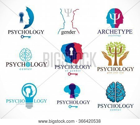 Psychology, Brain And Mental Health Vector Conceptual Icons Or Logos Set. Relationship And Gender Ps