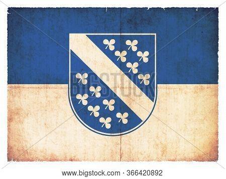 Flag Of The German Town Kassel (hessen, Germany) Created In Grunge Style