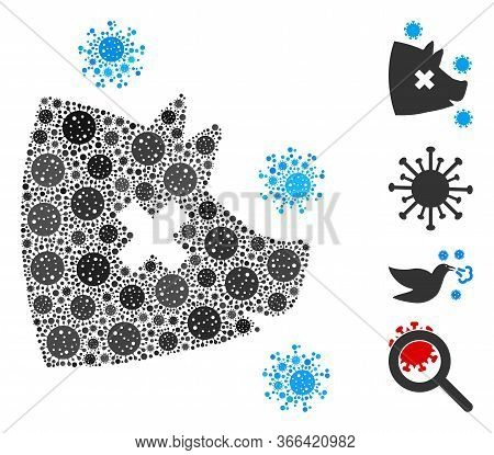 Mosaic Swine Flu United From Covid-2019 Virus Icons In Variable Sizes And Color Hues. Vector Viral E