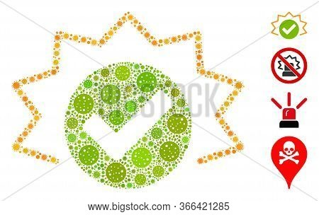 Mosaic True Alert Composed Of Sars Virus Icons In Various Sizes And Color Hues. Vector Viral Icons A