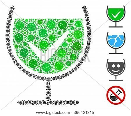 Collage True Drink Glass Organized From Covid-2019 Virus Icons In Different Sizes And Color Hues. Ve