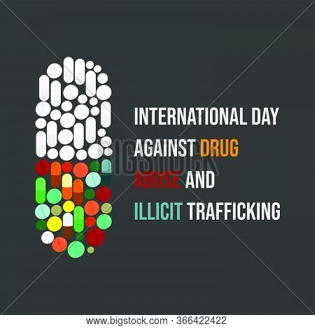 Vector Illustration For International Day Against Drug Abuse And Illicit Trafficking With Capsule Dr
