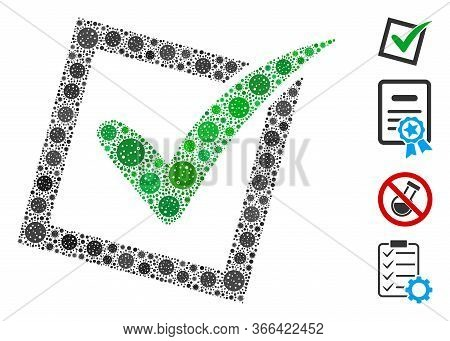 Collage Yes Poll Organized From Coronavirus Icons In Variable Sizes And Color Hues. Vector Viral Par