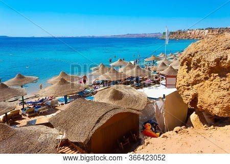 Sharm El Sheikh, Egypt - February 13, 2020: People Resting At El Fanar Beach In Egypt