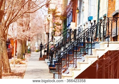 Many Color Staircase Of Typical Albany Houses On Lancaster Street, Ny, Usa