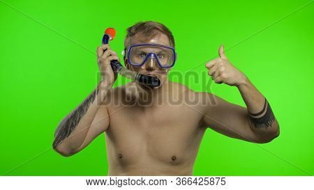 Emotional Shirtless Handsome Sailor Guy Tourist In Underwater Swimming Goggles Mask And With Breathi