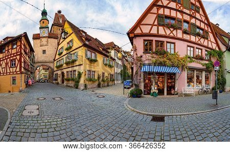 Rothenburg Ob Der Tauber, Germany - September 24, 2014: View On City Street With Tower. Bavaria, Ger