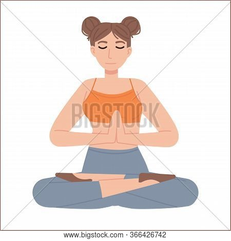 Cute Girl In Lotus Asana With Joined Hands And Closed Eyes. Meditation, Mental Health, Relaxation, Y