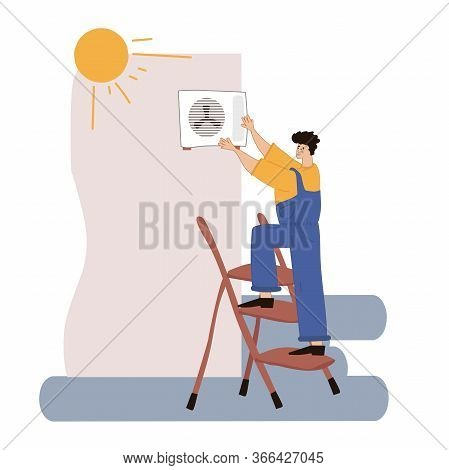 A Person Installs Or Repairs An Air Conditioner. Repair And Installation Of Ventilation. Vector Illu