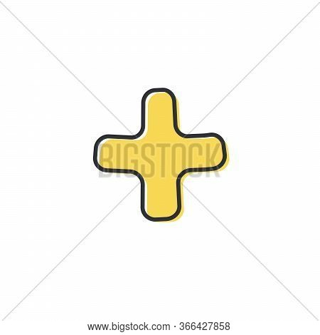 Plus Or Cross Symbol. Hand Drawn Plus Cross Sign With Memphis Symbols Isolated On A White Background