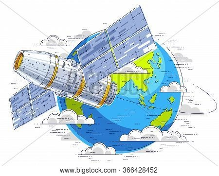 Space Station Flying Orbital Spaceflight Around Earth, Spacecraft Spaceship Iss With Solar Panels, A