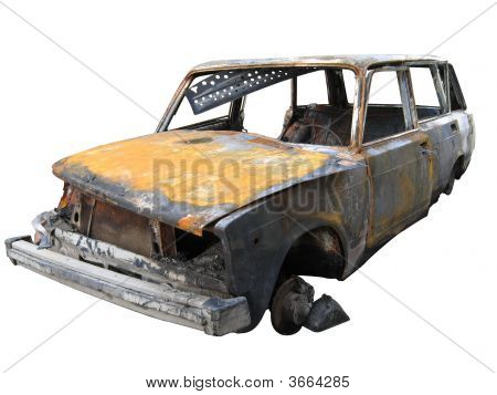 Isolated Destroyed Car