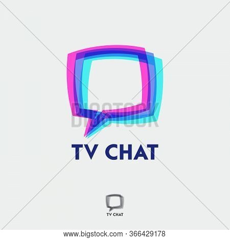 Tv Chat Logo. Emblem For App Or Web Forum. Comic Bubble Chat Like Tv Screen With Letters On A Differ