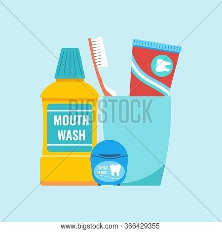 Teeth Everyday Hygiene Tools Concept. Dental Care Cleaning Products - Toothbrush And Toothpaste On P