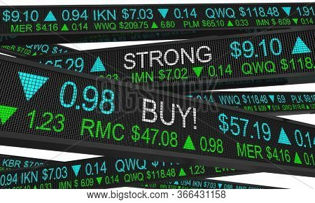 Strong Buy Stock Market Pick Share Price Ticker Investments Recommendation 3d Illustration