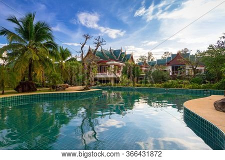 Koh Kho Khao, Thailand - November 4, 2012: Tropical pool scenery of the Andaman Princess Resort & SPA. This beautiful hotel was destroyed by tsunami in 2004 and rebuild in Koh Kho Khao, Thailand.