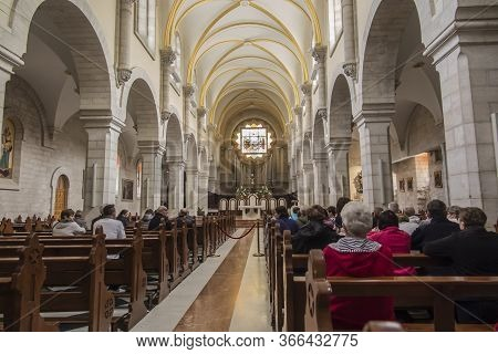 Bethlehem, Palestine. January 28, 2020: Interior Of The Church Of St. Catherine, Bethlehem, Palestin