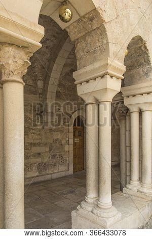 Bethlehem, Israel - January 28, 2020: The Gothic Corridor Of Atrium At St. Catharine Church In Bethl