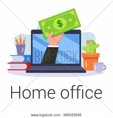 Internet Earnings In The Home Office. Work Online. Flat Vector Illustration.