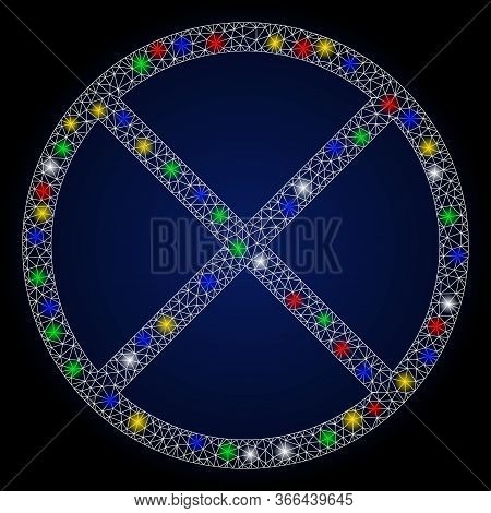 Bright Mesh Restricted With Glare Effect. Abstract Illuminated Raster Model Of Restricted Icon On A