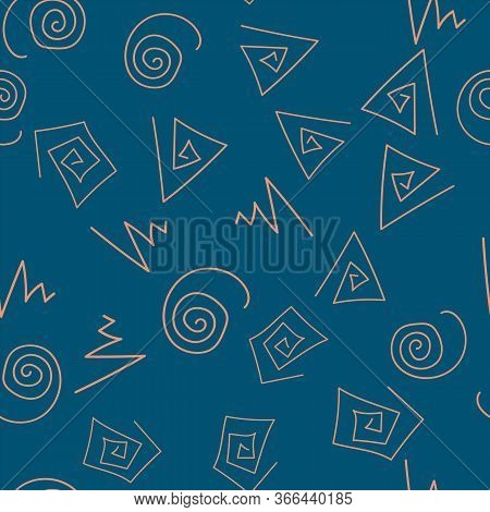 Abstract Triangles Of Squares And Circles Are Turned Into Spirals To Fill This Wallpaper.