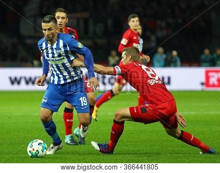 Berlin, Germany - September 20, 2017: Vedad Ibisevic Of Hertha Bsc Berlin (l) Fights For A Ball With