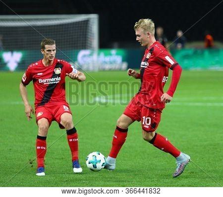 Berlin, Germany - September 20, 2017: Lars Bender (l) And Julian Brandt Of Bayer 04 Leverkusen In Ac