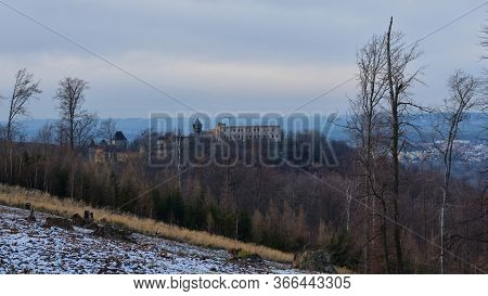 Crane At An Old Castle On The Top Of A Forested Hill With. Reconstruction Of Helfstyn Castle, Czech