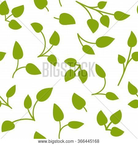 Birch Tree Leaves Seamless Pattern. Limitless Background With Green Floral Flat Cartoon Elements, Sp
