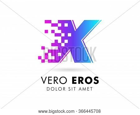 Letter X Logo Design Template. Letter X Logo In Pixel Motion Style With Gradient Color.