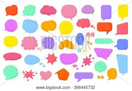 Colored Cartoon Comic Retro Speech Soap Bubble Set. Empty Text Box Different Shapes Balloons, Clouds