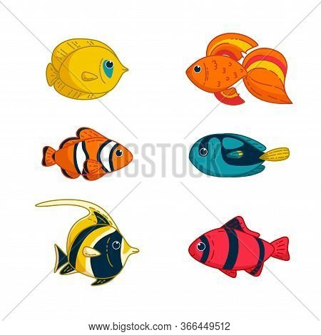 Set Of Tropical Fishes. Clownfish, Goldfish, Butterflyfish An Others. Vector Illustration In Cartoon