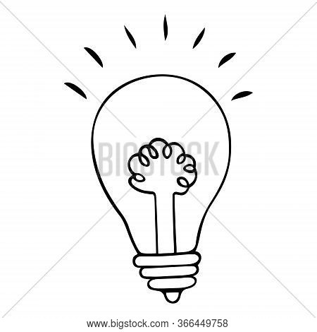 The Bulb Is Electric. Spiral In A Glass Flask. Bright Lighting. Vector Illustration In Doodle Style.