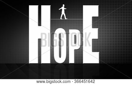 Man Walking On Tight Rope On The Hope Word, 3d Rendering