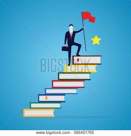 Businessman Reach Achievement By Education. Man Conquering Top Position Of Books Ladder, Success Wit